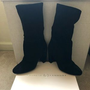 Chinese Laundry Black Suede Heeled Boots